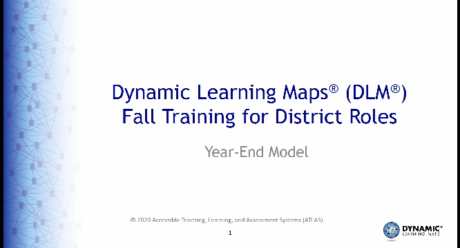 Dynamic Learning Maps Consortium Technology Specifications Training